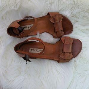 Paul Green Brown Leather Demi Wedge Sandal
